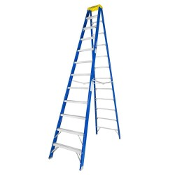 12 Ft. Fiberglass Step Ladder for working height up to 16 Ft.